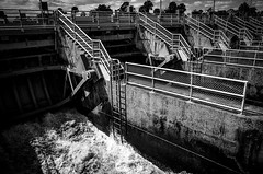 The Locks. (pmpiasecki) Tags: blackwhite industrial machinery ricohgr waterway ricohgr2