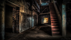 Urbex Decay - DSC9077hdr GA A7 (cleansurf2) Tags: wallpaper urban black color colour building lines architecture vintage dark underground grey hall vanishingpoint rust ruins industrial mood alone arty screensaver decay steel widescreen rustic wide surreal indoor gritty stairway spooky grime ultra hdr a7 scarry graffeti 4k steampunk urbex 3840 leadinglines ilce a7ii concreat emount a7m2