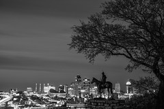 Scout: KC Silver (Mather-Photo) Tags: city sky blackandwhite bw horse tree monument monochrome beautiful beauty statue skyline architecture clouds silver evening spring downtown cityscape skyscrapers indian scenic kansascity nativeamerican missouri kc colorless kcmo 2016 kansascitymissouri thescout pennvalleypark niksilverefexpro andrewmather matherphoto andrewmatherphotography thescoutmonument
