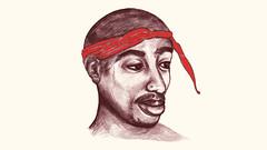 2pac (minniemorrisart) Tags: musician music man celebrity art painting artwork artist drawing picture icon fanart singer rap draw bandana legend rapper tupac shakur