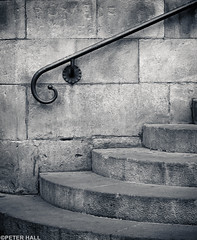 Steps & Rail (peterphotographic) Tags: barcelona blackandwhite bw church monochrome metal stone stairs corner spain europe cathedral steps rail olympus catalonia espana railing irin barcelonacathedral microfourthirds stepsrail camerabag2 peterhall em5mk2 p3140672ed1cb2portraitiiedwm