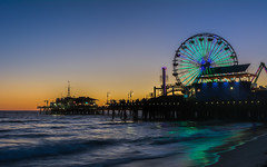 Santa Monica  |   Santa Monica Pier (JB_1984) Tags: ocean california ca sunset usa reflection beach lights evening pier waves unitedstates dusk santamonica landmark pacificocean socal ferriswheel amusementpark southerncalifornia santamonicapier pacificpark funfair losangelescounty