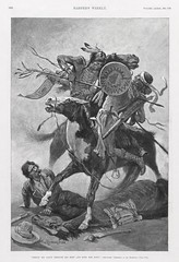 """Thrust His Lance Through His Body and Rode Him Down"" by Frederic Remington.  Harper's Weekly, December 7, 1889 (lhboudreau) Tags: horses horse trooper southwest art harpers cowboys illustration magazine newspaper cowboy indian newspapers journal illustrations nativeamerican engraving lance western shield indians magazines harper frontier americanwest nativeamericans americanindians harpersweekly americanindian remington 1889 pinto magazineart engravings americansouthwest woodengraving thewest fredericremington woodengravings americanfrontier pintohorse page980 volume33 frontiertroopers december71889 thrusthislance throughhisbody rodehimdown volume33number1720 frontiertrooper"