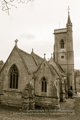 St Etheldreda Church (Jacek Wojnarowski Photography) Tags: old uk windows winter england sculpture building tower history church vertical wall architecture facade vintage europe outdoor religion somerset retro christianity spirituality sepiatone blackandwhitephotography religiousbuildings religioussymbol normanarchitecture 6x4 buildingexterior splittoning sepiaphoto westquantoxhead religiousequipment bulitstructure