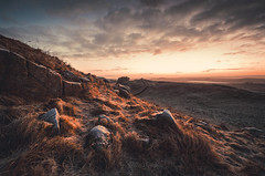Hadrian's Wall at sunrise (Arksmith) Tags: uk morning winter light wall sunrise frost roman ruin northumberland hadrians lighthousefrost