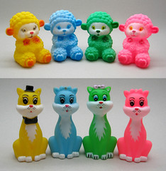 Yellow Blue Green Pink (The Moog Image Dump) Tags: cute animal toy toys sheep retro kawaii figure lamb squeaker