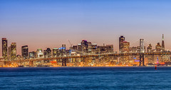 City By The Bay (atenpo) Tags: park bridge panorama building ferry skyline night port oakland bay harbor san francisco shoreline thecity cargo estuary east container baybridge transamerica middle alameda regional westoakland portofoakland