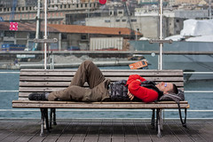 Porto Antico (Matthew on the road) Tags: old sleeping italy sun man guy port relax ancient italia harbour sleep liguria genoa genova april 2016 april2016