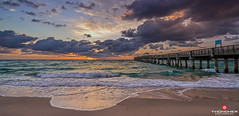 Florida Life: Benny's Catch Of The Day (Thncher Photography) Tags: sky beach nature clouds sunrise reflections landscape outdoors island pier sand waves florida sony scenic tropical fullframe fx palmbeach atlanticocean waterscape lakeworthpier oceanscape bennysonthebeach southeastflorida zeissfe1635mmf4zaoss a7r2 ilce7rm2 sonya7r2 southpalmbeachisland