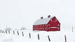 Snow Landscape with Red Barn (PhotogTrekker) Tags: winter copyright snow cold building weather architecture barn rural fence season landscape outside outdoors cool scenery colorado outdoor farm country farming scenic freezing places farmland structure credit freeze snowing icy snowfall redbarn smalltown fenceline copyrighted 2016 countrybarn ruraltown johnbielick photogtrekker