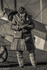 Royal Flying Corps Aviator, Stow Maries (harrison-green) Tags: world portrait people monochrome canon airplane one 1 flying photo war flickr outdoor aircraft aviation events royal sigma airshow corps timeline vehicle ww1 maries essex pilot reenactor tle charter stow aerodrome chelmsford rfc 18200mm 700d