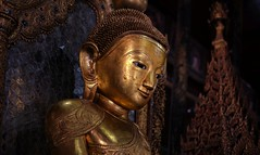 One of the five ancient golden Buddhas in the Shrine (Bn) Tags: trip houses vacation people lake holiday mountains art home water clouds season gold reading hotel book pagoda boat wooden fishing inn shrine meer long locals treasure fishermen state earth buddha burma stupa buddhist tail great nowhere birth floating atmosphere monk villages resort full monastery rainy ten rowing myanmar inle balance shallow shan stories calling birma longtail tha channels pagodas witness waterways inlay chedi novice mudra boottocht intha nyaungshwe bhumisparsha shwe ngaphekyaung shweinnthaflaoting