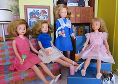 Treats for Cricket and Friends (Foxy Belle) Tags: fashion vintage doll child little sister character barbie skipper retro cricket american toots clone diorama tressy