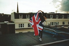 GOD SAVE THE TEEN (Alessandra Poli) Tags: life city roof urban london film rooftop girl youth 35mm wonder freedom god flag dream young free save queen vision soul dreamer wander