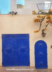 Tamraght Blue Doors and Yellow Bougainville (bagsandbiscuits) Tags: ocean travel beach landscapes morocco travelphoto tamraght