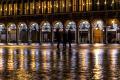 Venice (San Marco) (filippogatteschi) Tags: venice winter water yellow contrast canon dark square eos rising san arch tide columns illumination lagoon marco alta christams acqua notte flashes colonnato 70d