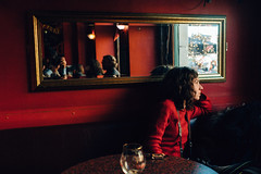 Little red present (Sator Arepo) Tags: leica red beer bar 35mm mirror pub europe sitting belgium boring brusseles draft m9 preasph