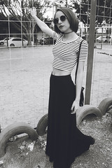 (Nathlia G. Andrade) Tags: old city sky urban blackandwhite bw woman tree cute girl beautiful fashion vintage hair glasses holding pretty day sweet unique stripes goth hipster young style skirt pale retro indie lovely 90s