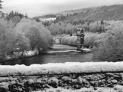 Broken Bridge Mono (foggyray90) Tags: bridge winter blackandwhite bw mist snow abandoned broken monochrome misty stone wall river scotland highlands crossing railway bn willow pines birch leafless railwaybridge ruined parapet pineforest fortaugustus crenelations stonebuilt