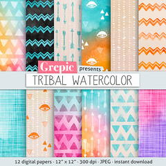 """Tribal digital paper: """"TRIBAL WATERCOLOR"""" with playful hand drawn tribal patterns in watercolor purple, pink, yellow, arrows, triangles (workyourart) Tags: triangles watercolor ancient colorful hand native patterns tribal backgrounds arrows watercolour drawn playful"""