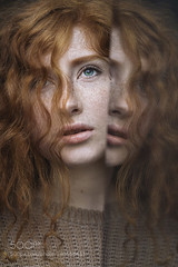 Mirror (StoryInABox) Tags: blue light red portrait people woman reflection green beautiful beauty face female hair mirror ginger model eyes pretty young lips redhead curly freckles curl freckled freckle 500px
