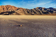 A Stone With a View (matthewkaz) Tags: california sky mountain mountains stone clouds racetrack desert stones deathvalley racetrackplaya 2014 drylake inyomountains theracetrack inyocounty sailingstones sailingstone