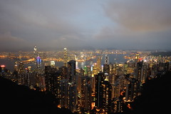 View from Victoria Peak (the13throb) Tags: china red mountain colors misty clouds skyscraper observation island hongkong colorful warm hill platform peak bynight illuminated deck bluehour viewpoint peoplesrepublic victoriapeak boomtown