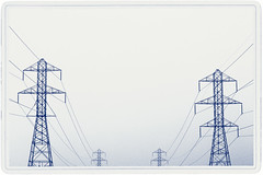 Blue Dancers (lisastein92) Tags: blue monochrome lines photo border cable symmetry pylon powerlines pylons cyanotype alienskin