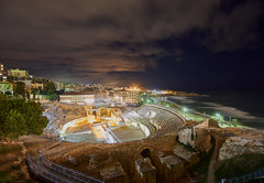 Tarragona Amphitheatre (Escipió) Tags: blue sea night clouds none amphitheatre tarragona anfiteatro amfiteatre medeiterraneo