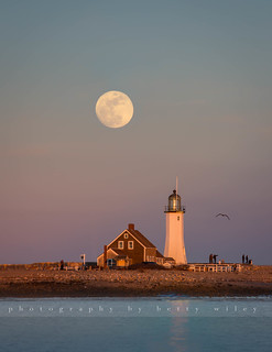 Full moon over Scituate Light