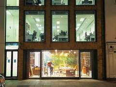 Window Boxes (Jamie Barras) Tags: lighting uk england building london architecture modern century dark office store desk 21st after worker shopfront 2016