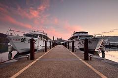 Cruiser Wharf at Sun Moon Lake  (Vincent_Ting) Tags: morning sunset sky lake water clouds sunrise dawn pier taiwan galaxy   crepuscularrays  sunmoonlake                  vincentting