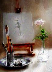 Painting a rose. (BirgittaSjostedt.) Tags: stilllife rose work paint artist drawing unique indoor brush canvas ie easel artdigital magicunicornverybest birgittasjostedt
