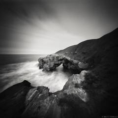 Saddle Rocks, Cullercoats (...Matt Pringle...) Tags: longexposure sea england blackandwhite film mediumformat square coast rocks pinhole shore ilford fp4 cullercoats v500 mattpringle