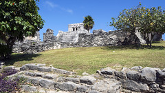 Recinto Ceremonial and Pyramid El Castillo (The Castle) (Mal B) Tags: wall port mexico ruins maya tulum mayan iguana trade roo costal sites yucatanpeninsula quintana obsidian qroo nikond600 juandaz recintoceremonial 77780tulum precolumbianmayasitezama meaningcityofdawn zamameaningcityofdawn zamacityofdawn tulmyucatanmayanwordforfence wall1ortrench