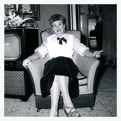 Living Room (vintagesmoke) Tags: woman monochrome smile vintage cigarette snapshot smoking 50s fahion