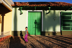 Maana - Trinidad, Cuba (Qiche) Tags: street city morning travel light people woman lamp architecture buildings walking town shadows cuba colonial cobblestone trinidad historical column cuban