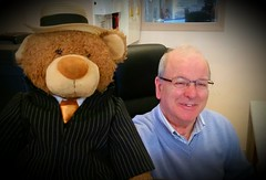 Marie Bear :-) (Monsieur Tout Le Monde) Tags: bear friends ted paris france smile hat marie silver de fun liberty hotel glasses maurice handsome straw tie suit nancy fox manager chevalier rue pinstripe domi businessbear dominickillworth vancuddly