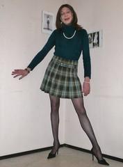Short pleated skirt. (sabine57) Tags: drag tv sweater pumps highheels cd tights skirt crossdressing tgirl transgender tranny transvestite jumper miniskirt pantyhose crossdresser crossdress shortskirt travestie transvestism pleatedskirt