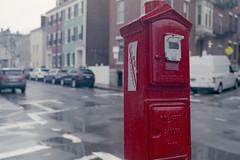 Emergency Call Box (KevinCollins00) Tags: red usa boston america 35mm nikon fuji unitedstates superia massachusetts newengland charlestown fujifilm emergency nikonf3 asa400 expiredfilm xtra c41 filmphotography colorfilm colourfilm 135film