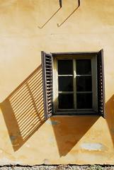 Sighisoara Window 15 (PM Kelly) Tags: street travel windows light shadow abstract color colour art ventana one 1 romania frame sighisoara shutter fade peel