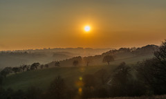 Moss Valley sunset,,, (johngregory250666) Tags: camera sunset sky orange sun english yellow night clouds rural lens landscape outside happy golden evening countryside moss country valley flare nikkor nikkon paisajae inagesofengland