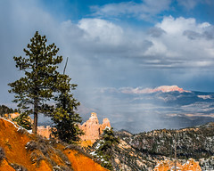 Bryce Canyon 27 (MarcCooper_1950) Tags: trees red sky orange snow colors clouds landscape utah nikon scenery rocks vivid canyon cliffs hills southern boulders hoodoo bryce rainfall hdr formations lightroom mounatins brycecanyonnationalpark geologic d810 marccooper