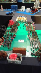 Setting up my display for Brick Can 2016 (Auz The Wizard) Tags: horse tree brick castle water field bush war king lego display good pirates helmet attack evil battle can pirate sword assemble axe knight plain spear 2016 barding brickcan