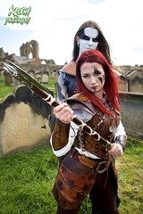 IMG_9405 (Neil Keogh Photography) Tags: red brown white black abbey graveyard leather silver cross gothic goth blouse crucifix axe trousers warrior facepaint viking armour gravestones waistcoat steampunk whitbyabbey whitbygothweekend armguards shoulderguards april2016
