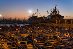 Essaouira Port at Twilight (departing(YYZ)) Tags: africa travel sunset fish water night port landscape coast boat twilight fishing dock northafrica transport morocco rowboat atlanticocean essaouira trawler seaport