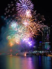AUSTRALIA DAY FIREWORKS,  BRISBANE,  2016 (16th man) Tags: canon eos fireworks australia brisbane southbank qld queensland brisbaneriver australiadayfireworks brisbaneskyline eos5dmkiii brisbaneskyline2016 brisbaneskylinejanuary2016