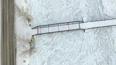A Private Bridge Over a Frozen River (Part 3) (Dan Beland) Tags: road bridge trees winter usa snow abstract art texture nature unmodified unitedstates artistic snowy abstractart freezing fromabove idaho willow northamerica rockymountains salmonriver parallel perpendicular snowcovered freshsnow unedited tiretracks yellowline frozenriver wintry drone icejam highway93 nofilters noadjustments dji icecovered straightoffthecamera salmonidaho shapesandshadows quadcopter privatebridge passingallowed northforkidaho phantom3professional