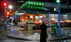 Fruits in the Nighttime Rain (HereInVancouver) Tags: city nightphotography urban rain night vancouver bc fruitstand denmanstreet canda vancouverswestend