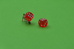 Loaded Dice (abnormally average) Tags: red 6 dice gambling macro green scale fun toy toys miniature model do die di etc ho littlepeople gamble wheelbarrow cheat poot loaded cheating cheater hofigures borrowers justmessin abnormallyaverage pootar souppickle